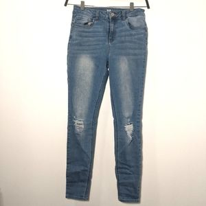 Distressed Mid Rise Push Up Jeans